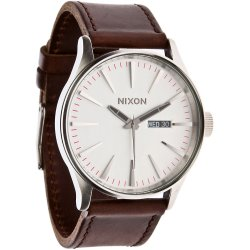 Nixon The Sentry Leather silver brown